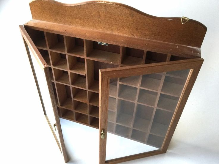 "S O L D    Huge vintage wooden wall curio cabinet miniature collectibles 17x17"" glass door"