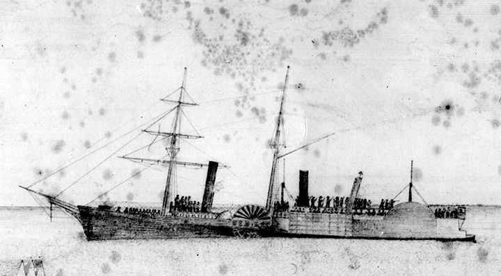 Eyewitness sketch showing the captured Union steamer Harriet Lane (left) and Confederate cottonclad Bayou City, at the end of the Battle of Galveston, January 1, 1863. Rosenberg Library, Galveston.