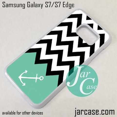 Black White Chevron Blue Anchor Phone Case for Samsung Galaxy S7 & S7 Edge