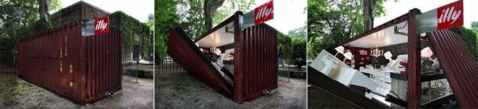 """En el marco de la Bienal de Venecia (52e), la empresa italiana de café """"Illy"""" instalo en el área de descanso esta cafetería, la Pust Button House, diseñada por el arquitecto y artista Adam Kalkin."""