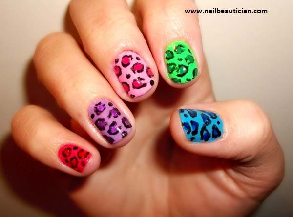 Perfect colorful nail art design for short nails