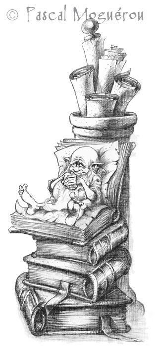 Fantasy Wizard Books Coloring pages colouring adult detailed advanced printable Kleuren voor volwassenen Сказочные иллюстрации Pascal Moguerou (205 работ)