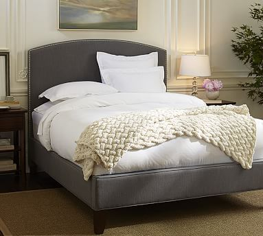 Fillmore Curved Upholstered Tall Bed & Headboard #potterybarn