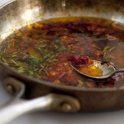 Magic sauce (olive oil, fresh herbs & salt, garlic, pepper flakes, and lemon juice). Goes on everything.