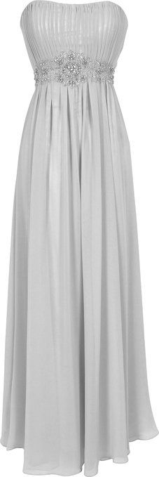Strapless Chiffon Goddess Long Gown Prom Dress Formal Bridesmaid Junior Plus Size, 3X, Silver