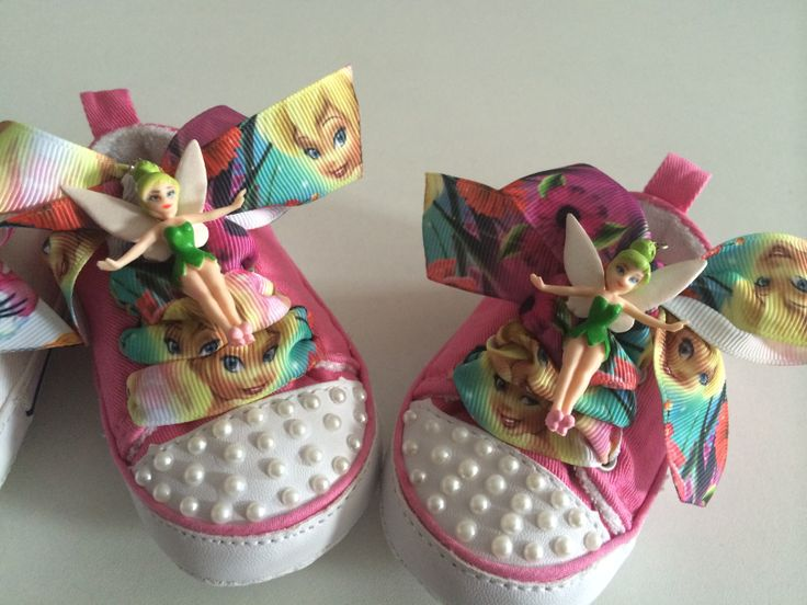 Tinker bell decorated shoes