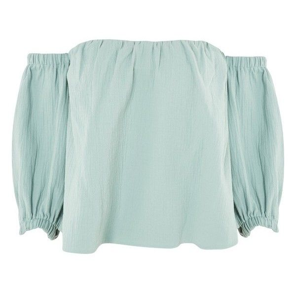 Women's Topshop Laundered Bardot Top (695 MAD) ❤ liked on Polyvore featuring tops, topshop tops and green top