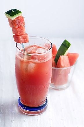Agua Sandia, perfect summer drink. Agua frescas are non-alcoholic beverages made from fresh seasonal fruits like watermelon, cantaloupe, melon, cucumber, lime, strawberries, papaya, guava, tamarind and the list goes on. Low cal.