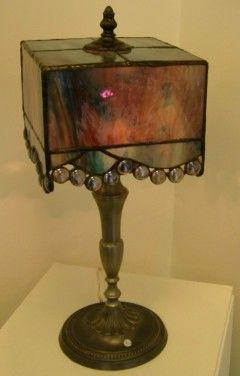 Matthildur Skúladóttir - Stained Glass Lamps - a square stained glass lamp shade?  This is a new idea to me!!!!