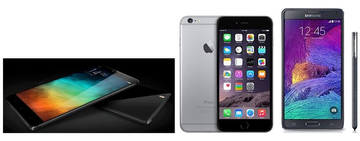 Xiaomi Mi Note vs Samsung Galaxy Note 4 vs Apple iPhone 6 Plus: Specifications & Features Comparison