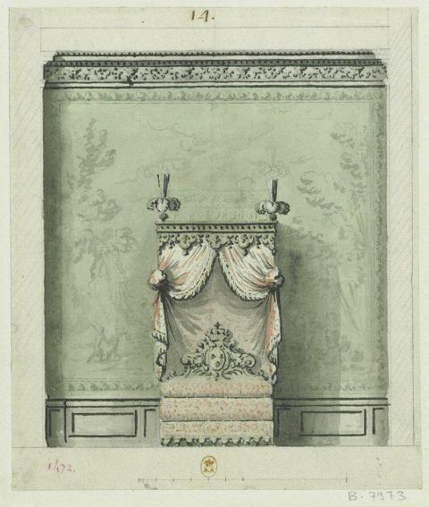 Fig.3: Élévation du mur sud de la chambre du Roi dans le Pavillon royal du château de Marly, 1692?, dessin, 24,4×20,5cm. Paris, Bibliothèque nationale de France, département des Estampes et de la Photographie, VA-78 (A,5)-FOL (Robert de Cotte no1472).