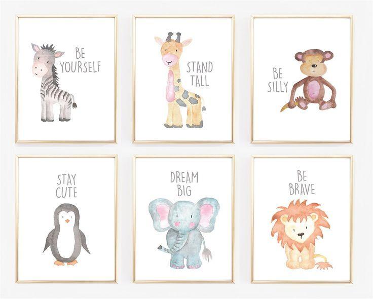 Aquarell-Baby-Tierkinderzimmer-Drucke   – Kinderzimmer Ideen