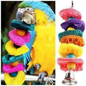 Bird-Toy-Parrot-Cages-Toy-Cage-Cockatoo-Conure-Loofah-Sponge-Bite-resistant #parrotcagediy #parrotcageideas