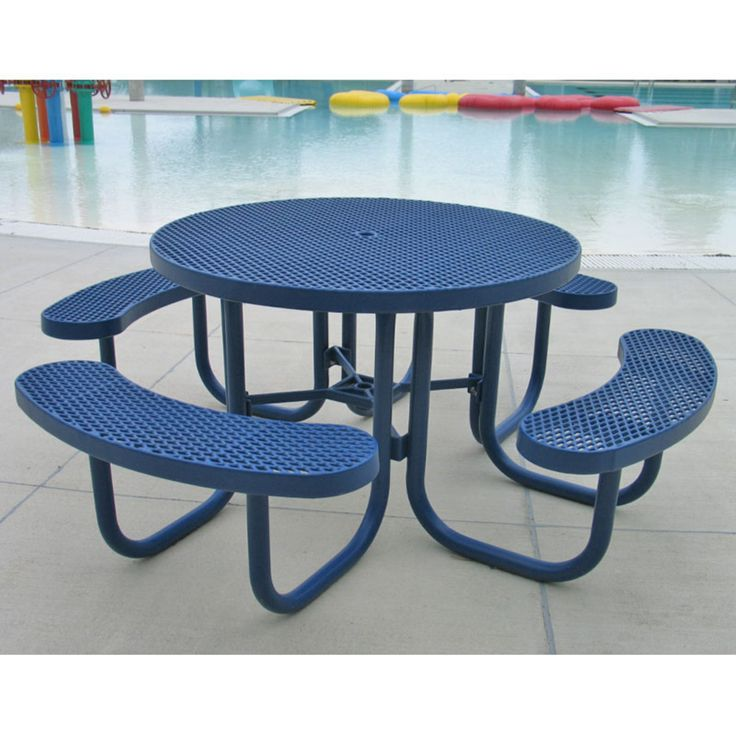 Outdoor Premier Polysteel Champion 78 in. Round Commercial Picnic Table with Attached Seats - 955-101-RED