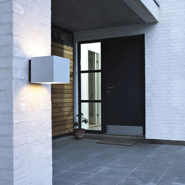 Welcome outdoor wall lamp at entrance, private residence
