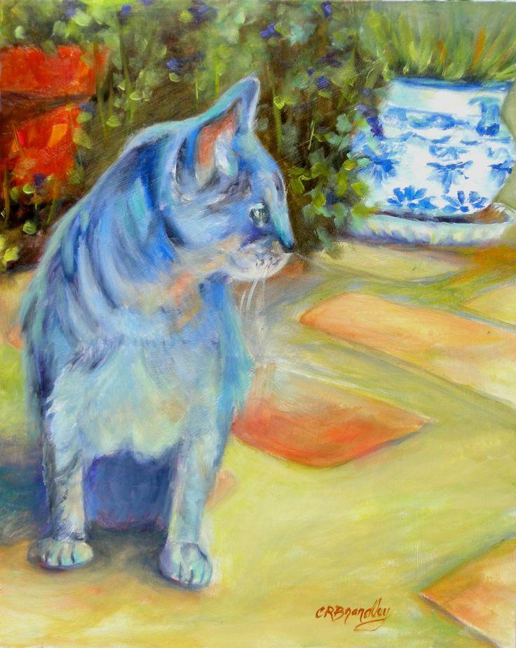 "For Sale: Le Chat Bleu (The Blue Cat) by Chris Brandley | $100 | 8""w 10""h | Original Art | https://www.vangoart.co/buy/art/le-chat-bleu-the-blue-cat @VangoArt"