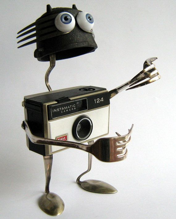 Upcycled ROBOT  Sculpture   click with Kodak      by BranMixArt, $80.00