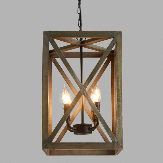 "Gray Wood and Iron Valencia Chandelier 12"" square x 18""h - $130 each - use three above island"