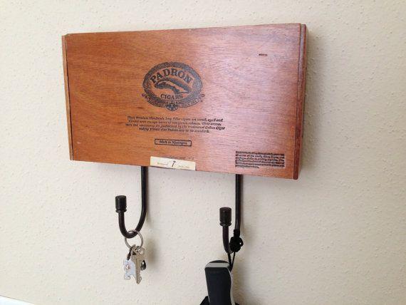 1960s Inspired Reclaimed Wood Cigar Box Hat / Key Rack Repurposed