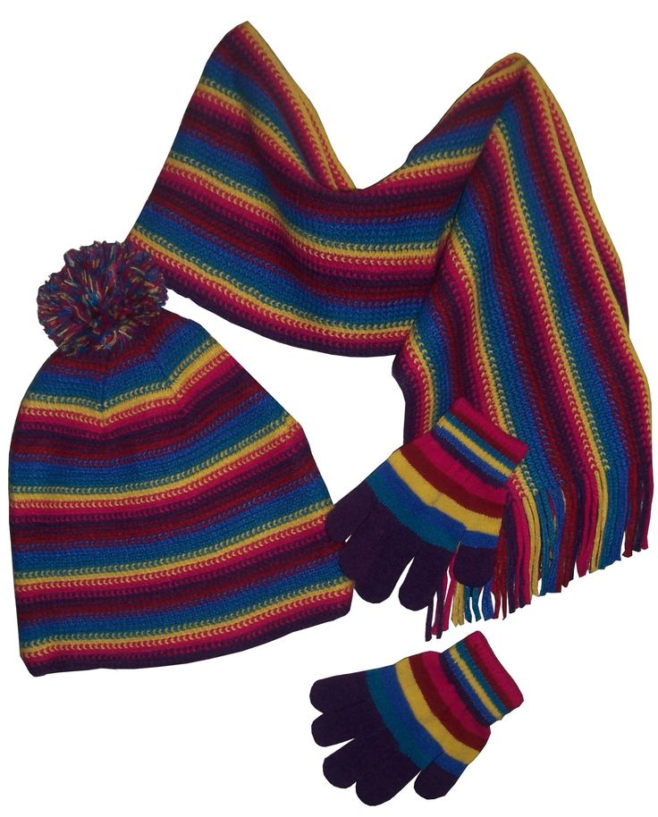 N'Ice Caps Big And Little Girls Colorful Stripe Hat/Scarf/Glove Set (4-12yrs, purple/fuchsia/yellow/turq/blue teal/red). Fantastic stripe color sequence. Fleece lining in hat, glove is magic stretch, scarf has fringes. Tight chain stitch knitting has no snagging. Colors will match to most outerwear colors. Multi color pom on hat crown, great styling.