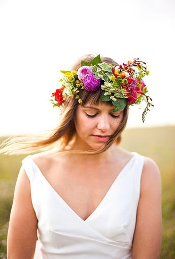 Brides: The Prettiest Wedding Hairstyles with Flower Crowns| A Lush Flower Crown Featuring Dahlias and Greenery | Photo by Caught the Light