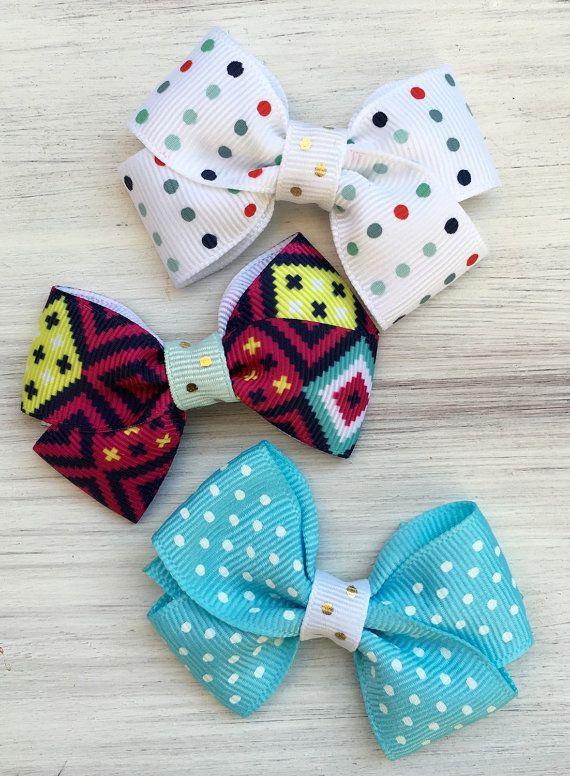 Dog Hair Bows, BoHo Dog Hair bows, Dog Collar Bows, Dog Accessories, Yorkie Shih tzu Maltese, cat collar bows, Dog Valentine Bows,