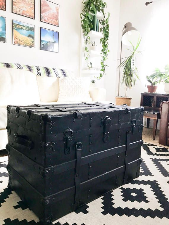 Vintage Antique Black Steamer Trunk Coffee Table Blanket Coffee Table Trunk Steamer Trunk Coffee Table Coffee Table Vintage