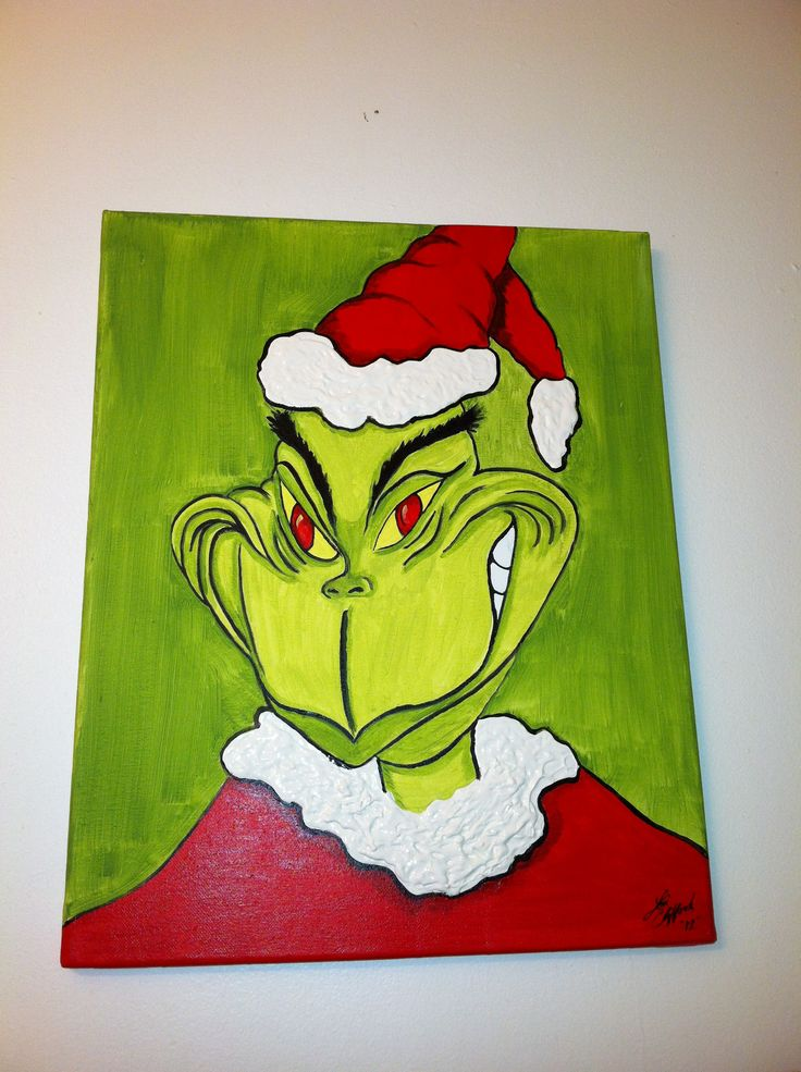 Grinch Painting For My Bathroom Christmas Paintings Pinterest Grinch Christmas Paintings