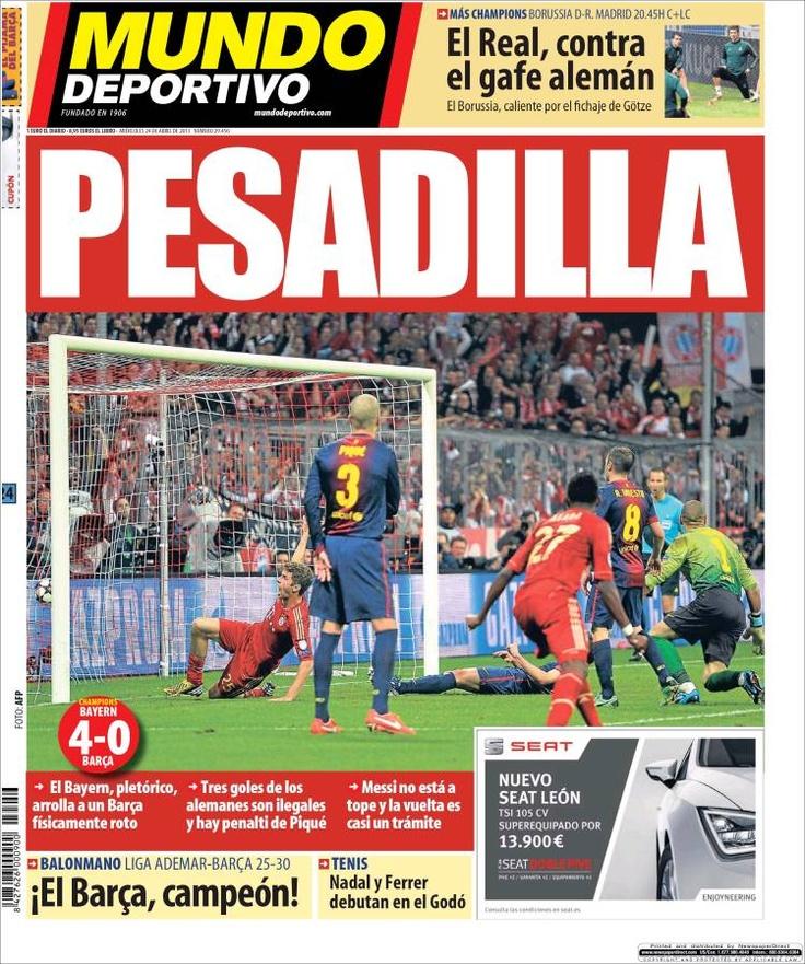 Los Titulares y Portadas de Noticias Destacadas Españolas del 24 de Abril de 2013 del Diario Mundo Deportivo ¿Que le parecio esta Portada de este Diario Español?