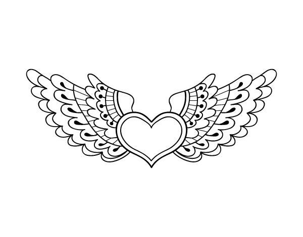Dibujo de Corazón alado para colorear