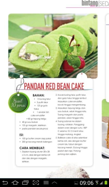 Pandan red bean cake