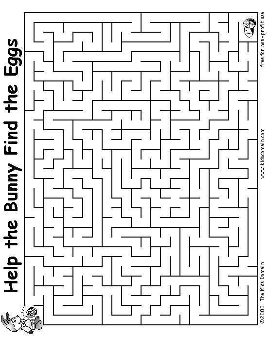 Advanced Easter bunny maze Kids 39 Coloring Pages