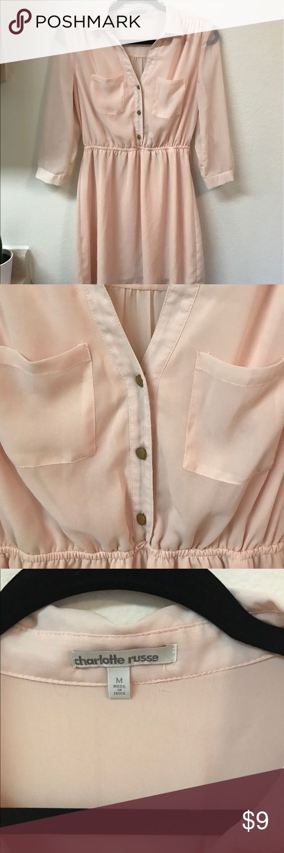 Flowing Blouse Fitted at the waist, lovely blush color. Buttons down the front. There are very small belt loops for a skinny belt around the waist.  100% polyester   #tunic #blouse #blushpink #rose #charlotterusse #charlotterussetunic #feminine #girly #chic #boho #bohemian #bohoblouse #bohemiantunic #sizemedium #mediumtunic Charlotte Russe Tops Blouses
