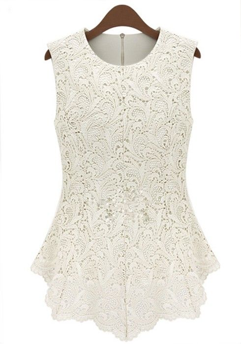 White Embroidery Zipper Sleeveless Skinny Lace T-Shirt