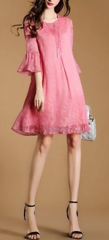 df645679cab840 Women s Pink Fashion Lace Casual Midi Summer Dress  fashion  womensfashion   womenswear  pink  pinkdress  dress  dresses  womensdress