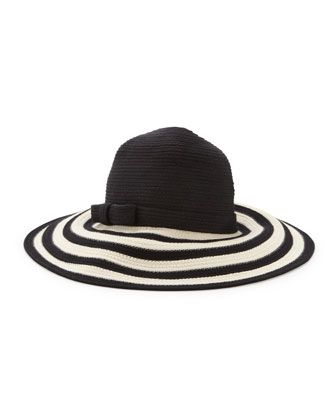 striped wide-brim sun hat, black/cream by kate spade new york at Neiman Marcus.