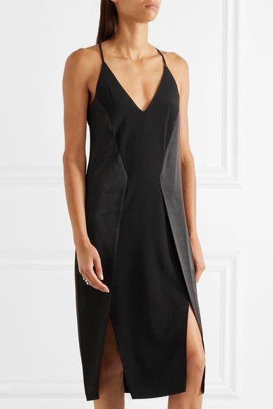 Halston Heritage - Paneled Crepe, Chiffon And Satin Dress - Black