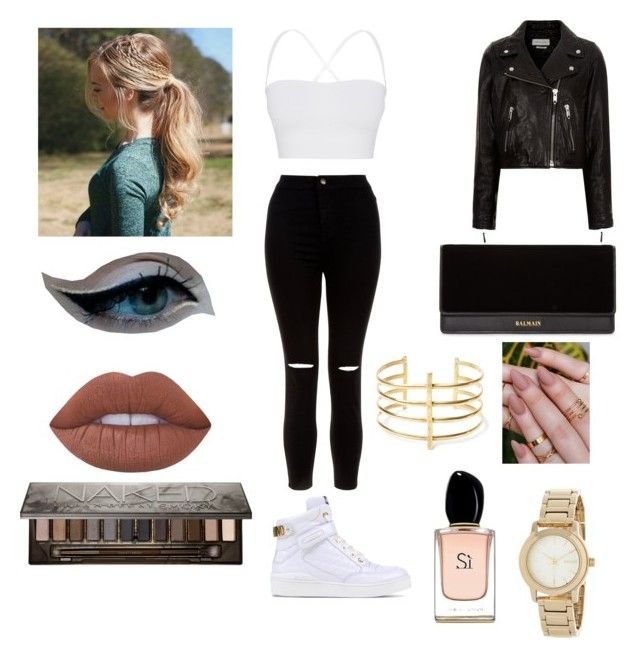 """""""Leather Jacket"""" by lovewine ❤ liked on Polyvore featuring New Look, Étoile Isabel Marant, Moschino, Lime Crime, Urban Decay, Balmain, BauXo, DKNY, Armani Beauty and Theory"""