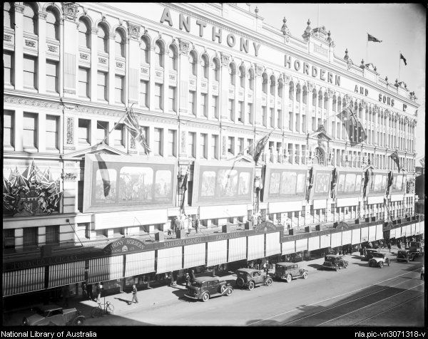 'Cavalcade of an Empire' decoration on the side of Anthony Hordern and Son,Department Store building, Sydney, Australia ca.1938. v@e