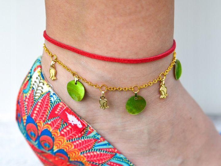 Orientalna Bransoletka Na Noge Stope Czerwona Boho 7453443132 Oficjalne Archiwum Allegro Beaded Necklace Necklace Beaded