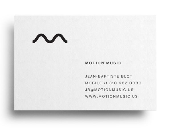 Logo and business card with black block foil business card designed by Face for Motion Music.