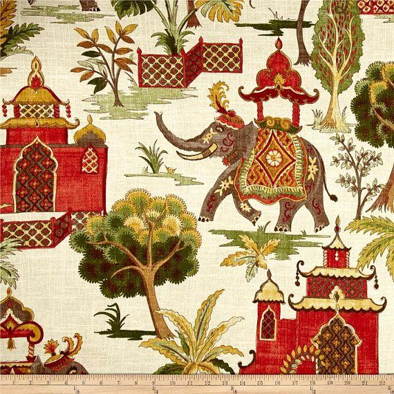 Elephant Shower Curtain // Covington Kumar Verde // Linen //