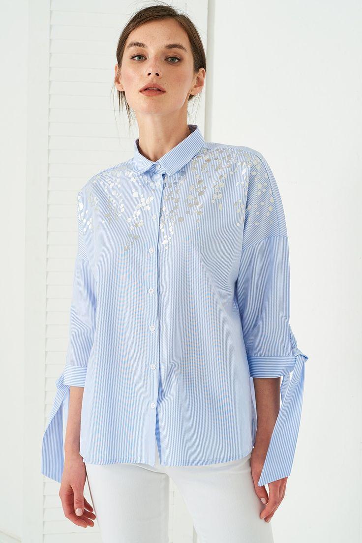 Mavi Çizgili Gümüş Püskürtme Detaylı Kadın Gömlek Vavist by trendyol | Trendyol