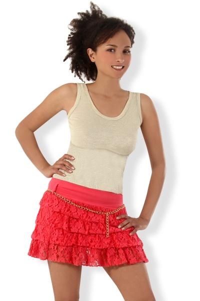 Abbigliamento da Donna  http://www.abbigliamentodadonna.it/minigonna-pizzo-ricamato-p-925.html  Cod.Art.000978 - Minigonna in pizzo ricamato a balze molto trendy per una ragazza dall'animo sbarazzino, amante dell'abbigliamento sfizioso ed di classe.