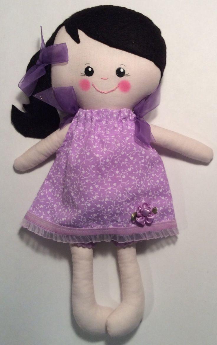 """Handmade Girl Cloth Doll 13"""" Delaney Plush Softie Rag Doll With Purple Pillow Case Dress Black Wool Felt Hair by Darlingdollyss on Etsy"""
