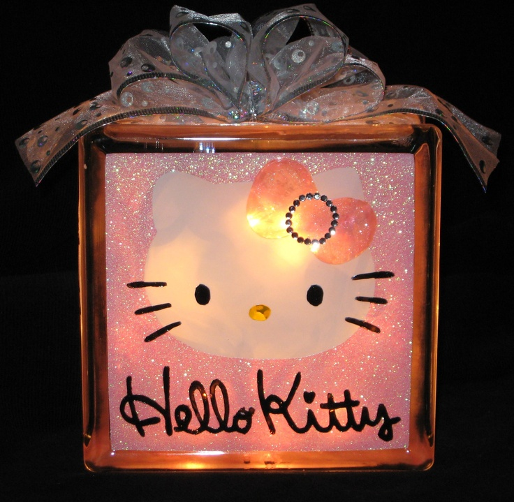 Sparkly Hello Kitty Glass Block Light. $22.00, via Etsy.