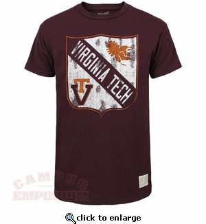 A soft vintage style Virginia Tech tee with distressed retro Gobbler and #VT logos. From @retrobrand