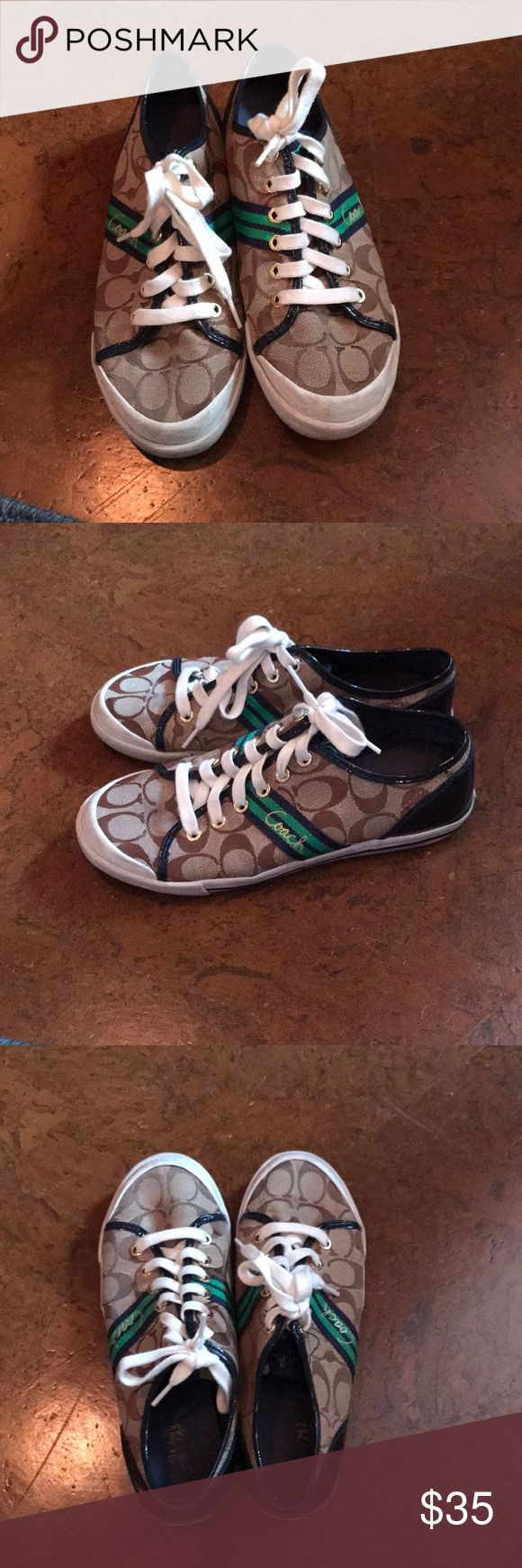 Coach tennis shoes Size 8.5, navy and green striped coach tennis shoes Shoes Sneakers