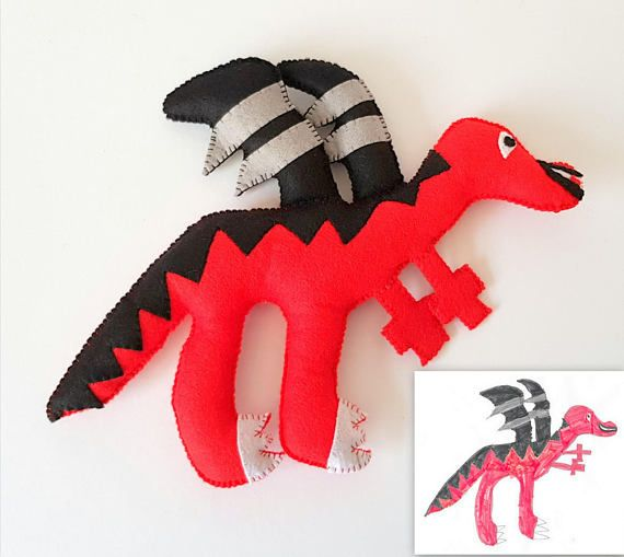 Dragon Plush Toy, Dragon Stuffed Animal, Custom Toy Made After Kid's Drawing, Personalized Birthday Gift, Gift for Boys, Custom Toy, Kid Art