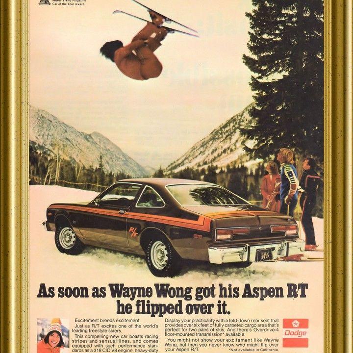 1976 Dodge Aspen R/T Wayne Wong Skier Flips Over It Vintage Ad